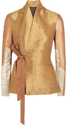 Rick Owens - Metallic Lamé And Cotton Blend-paneled Shantung Wrap Jacket - Gold $1,360 thestylecure.com