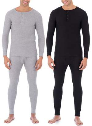 Fruit of the Loom Mens Classic Thermal Henley Top, Value 2 Pack