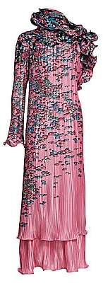 Givenchy Women's Asymmetric Ruffle Floral Pleated Maxi Dress