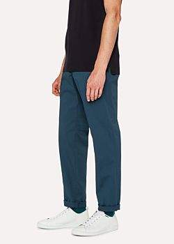 Paul Smith Men's Tapered-Fit Petrol Blue Stretch-Cotton Chinos