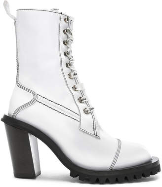 Acne Studios Leather Lace Up Boots in White | FWRD