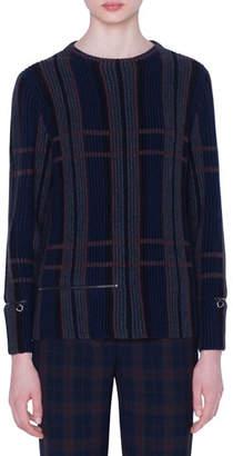Akris Cashmere-Silk Plaid Ribbed Knit Sweater