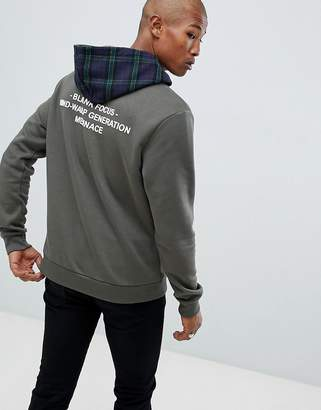 Mennace Hoodie With Check Hood