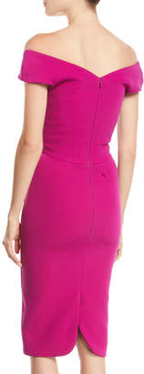 Zac Posen Sweetheart-Neck Cap-Sleeve Sheath Knee-Length Crepe Cocktail Dress
