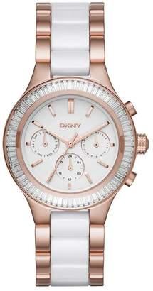 DKNY Women's 38mm Rose Gold-Tone Ceramic Band Steel Case Quartz Dial Analog Watch NY2498