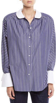 Marc Jacobs Peter Pan Collar Button-Front Striped Shirt w/ Shoulder Pads