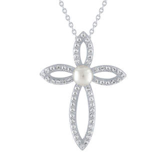 Silver Cross FINE JEWELRY Womens Genuine White Cultured Freshwater Pearl Sterling Pendant Necklace