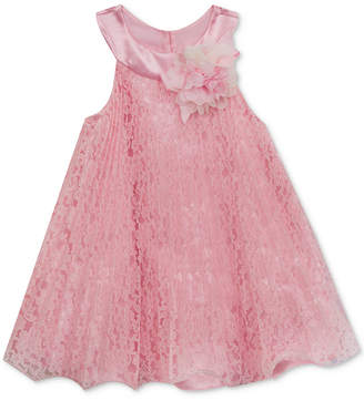 Rare Editions Pleated Lace Dress, Baby Girls