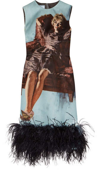 Prada - Feather-trimmed Printed Wool And Silk-blend Dress - Blue