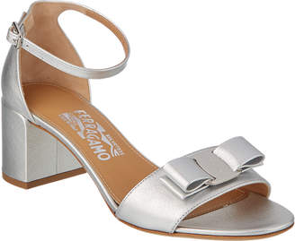Salvatore Ferragamo Gavina Metallic Leather Ankle Strap Sandal