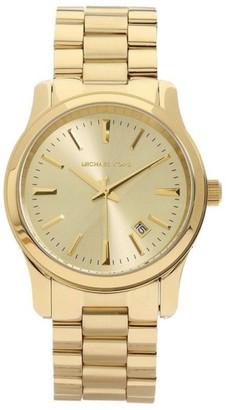 Michael Kors MK5160 Gold Tone 3 Hand Runway Analog Womens Watch