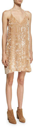 Alice + Olivia Fierra Tank Velvet Mini Dress, Beige