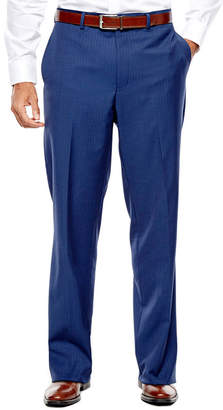 COLLECTION Collection by Michael Strahan Blue Herringbone Flat-Front Suit Pants - Classic Fit