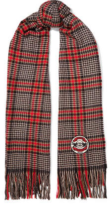 Gucci Fringed Houndstooth Wool, Silk And Cashmere-blend Scarf - Black
