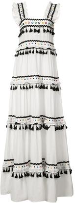 Dodo Bar Or Tiered Pompom Maxi Dress