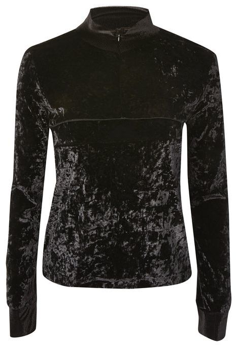 Topshop Topshop Velvet zip through sweatshirt