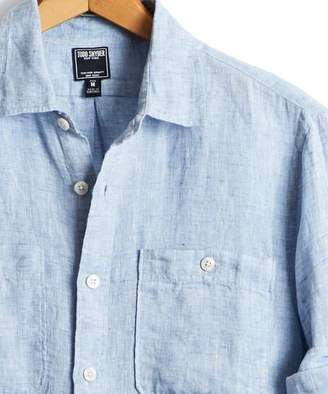 Todd Snyder Slim Fit Linen Two Pocket Shirt in Light Blue