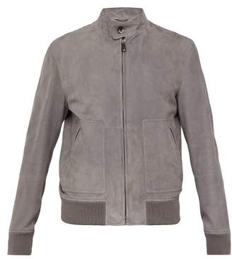 Bottega Veneta Intrecciato Suede Jacket - Mens - Grey