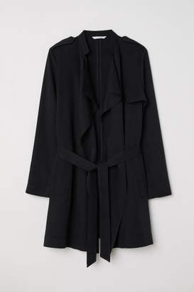 H&M Short Lyocell Trenchcoat - Black