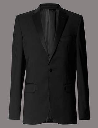 Marks and Spencer Black Tailored Fit Wool Rich Jacket