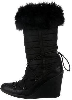 Prada Sport Semi Pointed-Toe Mid-Calf Wedge Boots