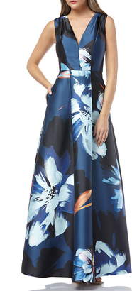 Kay Unger Sleeveless Print Mikado Dress