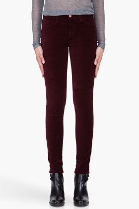 J BRAND Burgundy Velvet Stretch Mid Rise Trousers
