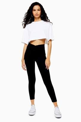 Topshop Womens Ribbed Leggings - Black