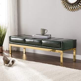 Mid-Century MODERN Southern Enterprises Rigoane Upholstered Bench, Midcentury Modern Style, Dark Green