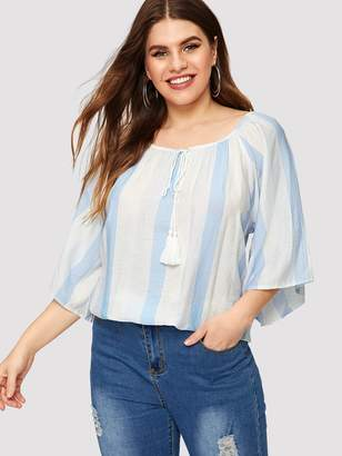 Shein Plus Vertical Striped High Low Tee