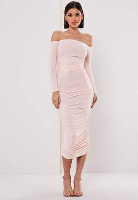 adafdcfc3796 Missguided Bardot Slinky Ruched Midaxi Dress, Blush