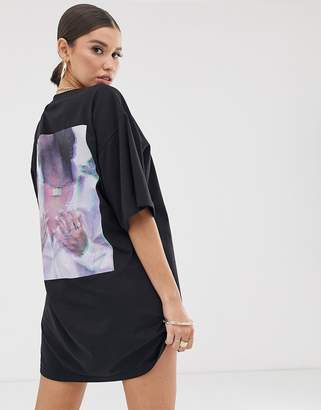 Public Desire X Lissy Roddy oversized t-shirt dress with lissy roddy graphic