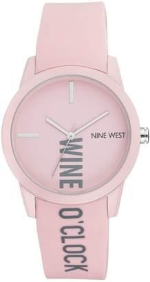 Nine West Women's Pink Wine O'Clock RubberizedStrap Watch