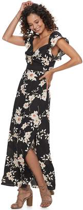 Trixxi Juniors' Floral Cutout-Keyhole Maxi Dress