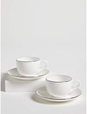 659956f660 John Lewis & Partners Contour Platinum Bone China Espresso Cup & Saucer, Set  of 2