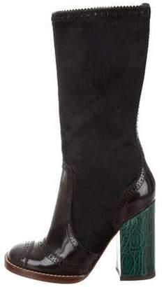 Dolce & Gabbana Ponyhair Round-Toe Boots