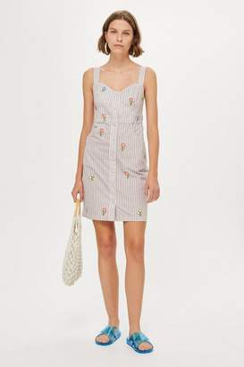 Topshop Tall Gingham Embroided Pinafore Dress