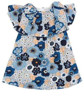 Chloé Allover Floral Bow-Shoulder Dress, Size 2-3