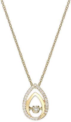 Twinkling Diamond Star Diamond Double Teardrop Pendant Necklace in 10k Gold (1/6 ct. t.w.)