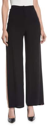 Eileen Fisher Side-Striped Silk Crepe Pants
