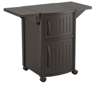 Suncast 40 Inch Counter Outdoor Meal Serving Station and Patio Cabinet, Brown
