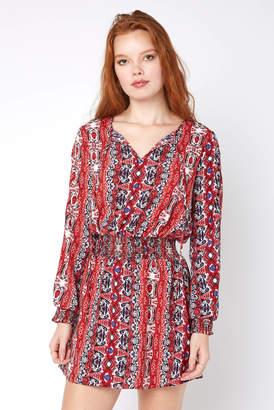Juniper Blu Printed Peasant Mini Dress Red Multi XS
