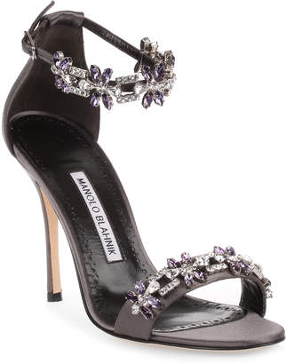 Manolo Blahnik Firadou 105 dark grey crystal sandal