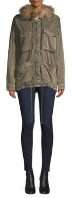 Splendid Sateen Faux Fur -Trim Military Jacket