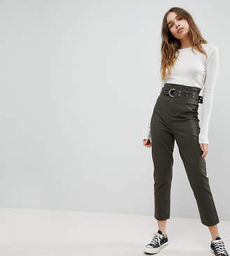 Asos DESIGN stevie high waisted peg pants with extra long belt in khaki