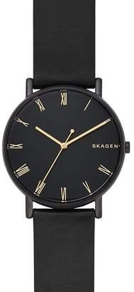 Skagen Signatur Black Leather Strap Watch, 40mm