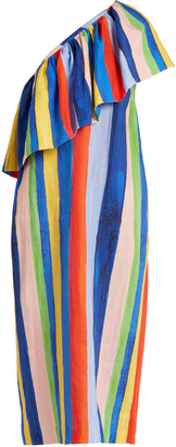 MARA HOFFMAN Rainbow Watercolour Stripe-print linen dress $458 thestylecure.com