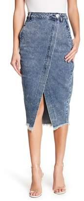 One Teaspoon Frayed Hem Midi Denim Skirt
