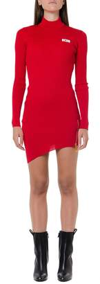 GCDS Red Ribbed Synthetic Short Dress