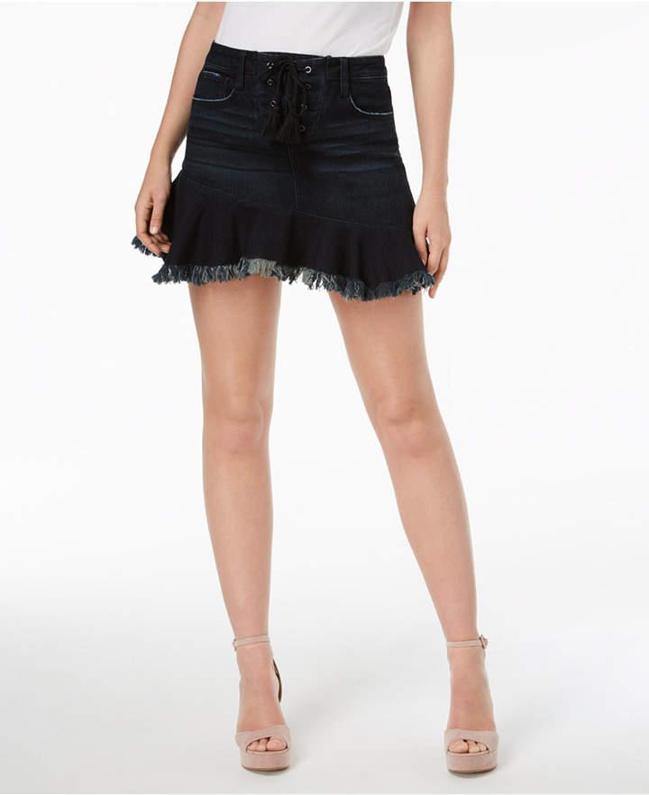 Tinseltown Juniors' Flared Frayed Denim Skirt